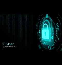 hud closed blue padlock on binary code background vector image