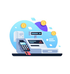 Icon cash machine for cashier employee in store vector