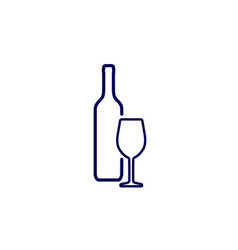 icon of silhouette wine bottle and wine glass vector image