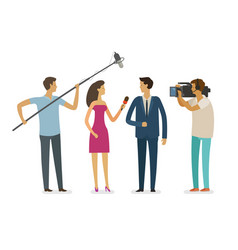 interview with journalists video report vector image