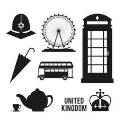 Landmarks icon set United kingdom design vector image