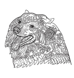 Line art cute spritz dog with pattern vector