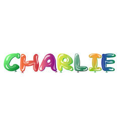 Male name charlie text balloons vector