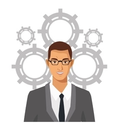 Man with glasses suit business gears team vector