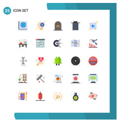 mobile interface flat color set 25 pictograms vector image