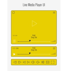 Modern line media player template vector image