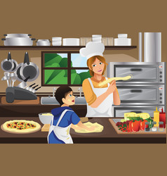 mother son in the kitchen vector image