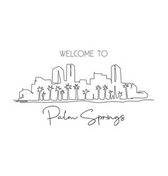 one continuous line drawing palm springs city vector image