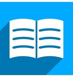 Open Book Flat Square Icon with Long Shadow vector