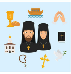Orthodox christianity religion symbols vector