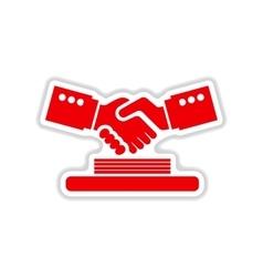 Paper sticker on white background handshake vector