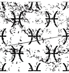 Pisces pattern grunge monochrome vector image