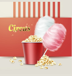 Popcorn with cotton candy vector