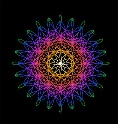 Rainbow flower in spirograph style on black vector