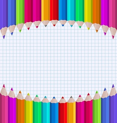 Rainbow of pencils on paper sheet background vector