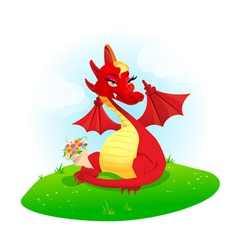 Red dragon with flowers vector