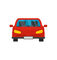 Red front car icon flat style vector