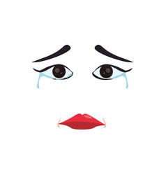 sad cartoon face vector image
