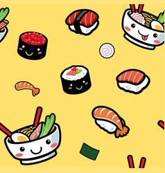 seamless cartoon japanese food pattern vector image