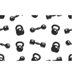 seamless pattern with dumbbells and kettlebells vector image