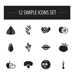 Set of 12 editable food icons includes symbols vector