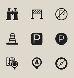 Set of 9 editable location icons includes symbols vector
