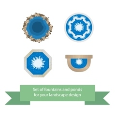 Set of fountains and ponds vector