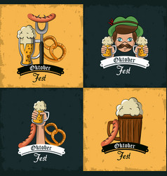 Set of oktober festival emblems vector