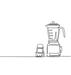 single continuous line drawing food blender vector image