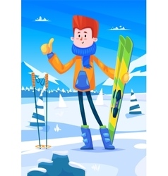 Ski resort holidays skier Snow background Flat vector image