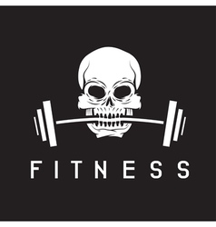 Skull holding barbell in the teeth fitness concept vector
