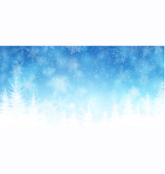Snowfall and forest background for christmas vector