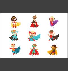 superhero girls and boys set kids in superhero vector image