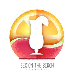 Tequila sunrise or sex on beach cocktail icon vector