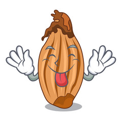 Tongue out shallot in a glass bowl cartoon vector
