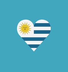 Uruguay flag icon in a heart shape in flat design vector
