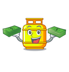 With money creative in gas cartoon tank container vector