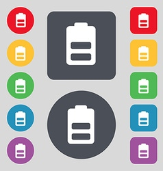 Battery half level Low electricity icon sign A set vector image vector image