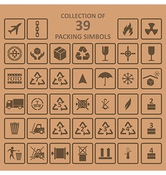 Collection of packing simbols on backgrownd vector image