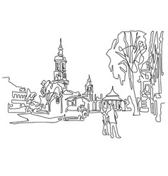 continuous one line drawing of historical town vector image