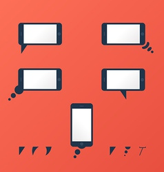 Gadget smartphone empty speech bubbles red vector image vector image