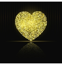 Heart on black background Gold glitter vector image vector image