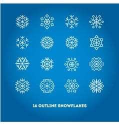 Snowflakes outline icons set for new year card vector image vector image