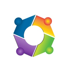 Teamwork network connections logo apps vector image
