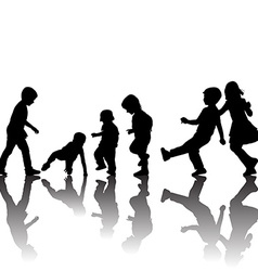 Black children silhouettes with shadows vector image