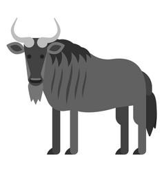 flat style of black wildebeest vector image