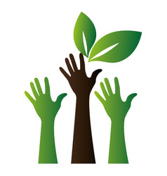 hands human with leafs vector image