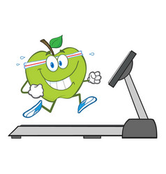 healthy green apple cartoon character running vector image