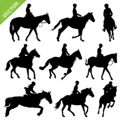 Horse riding silhouettes collections vector image