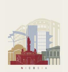 nicosia skyline poster vector image vector image